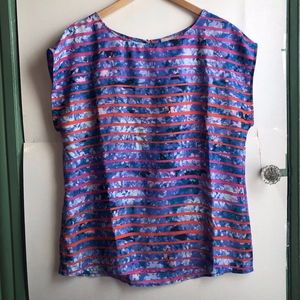 BANANA REPUBLIC Blue Red Pink Floral Striped Top